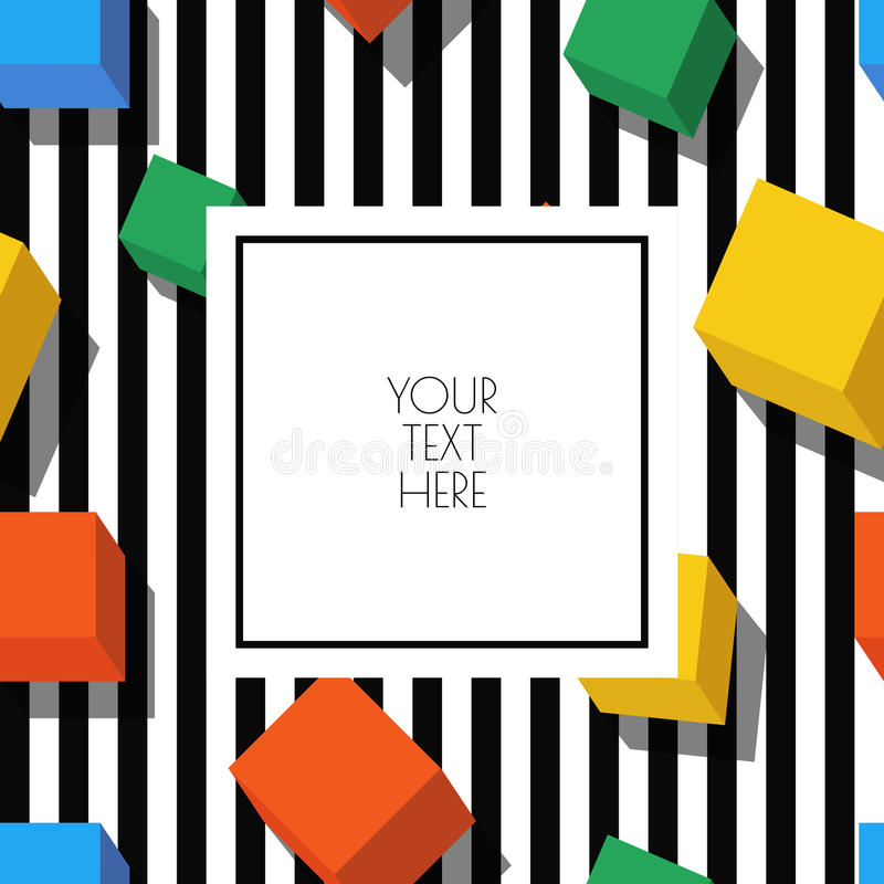 Vector seamless geometric pattern with white square frame royalty free illustration