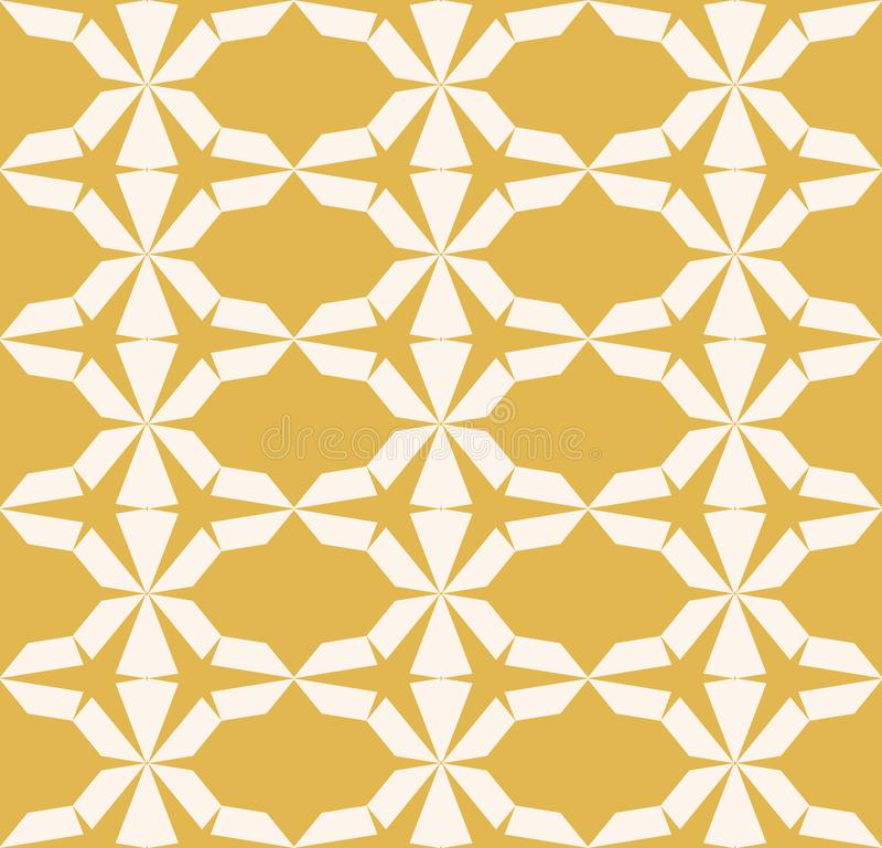 Vector seamless geometric pattern. Yellow texture with triangles, hexagonal grid vector illustration