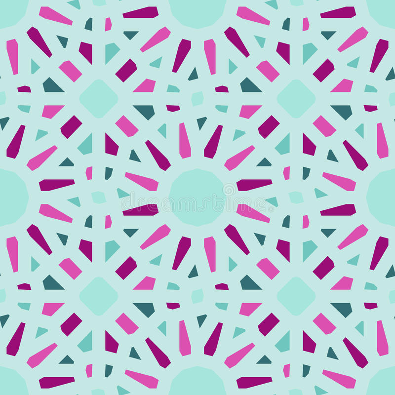 Vector Seamless Geometric Tiling Pattern in Teal and Pink. Abstract Background vector illustration