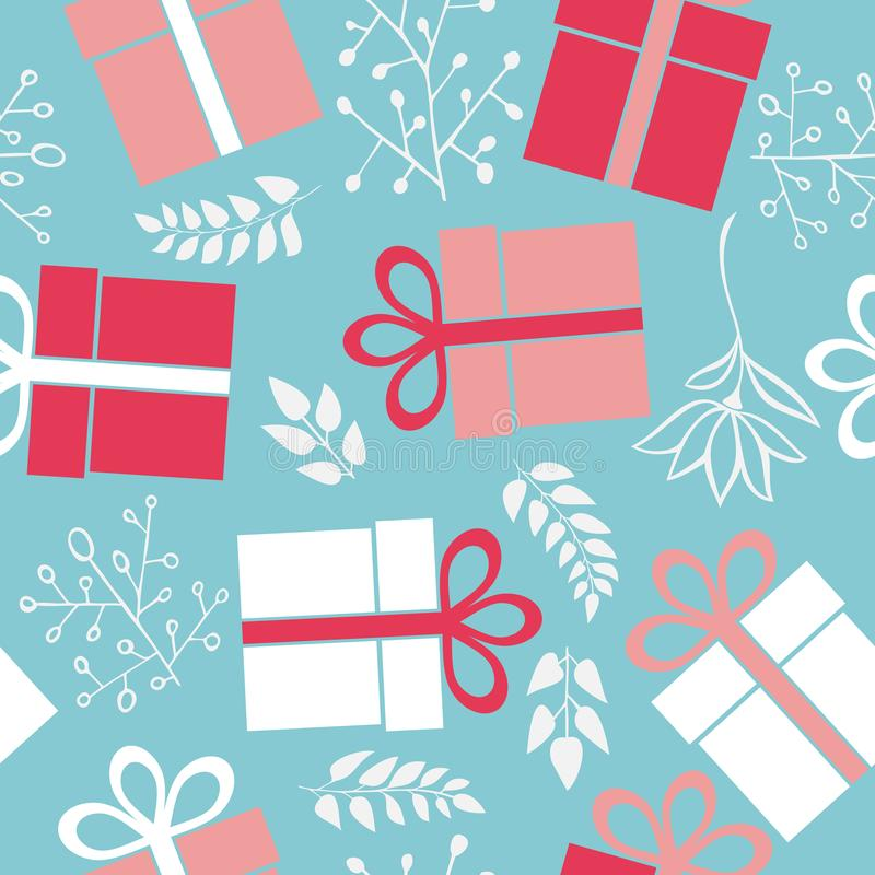 Vector seamless gift pattern on a blue background royalty free illustration