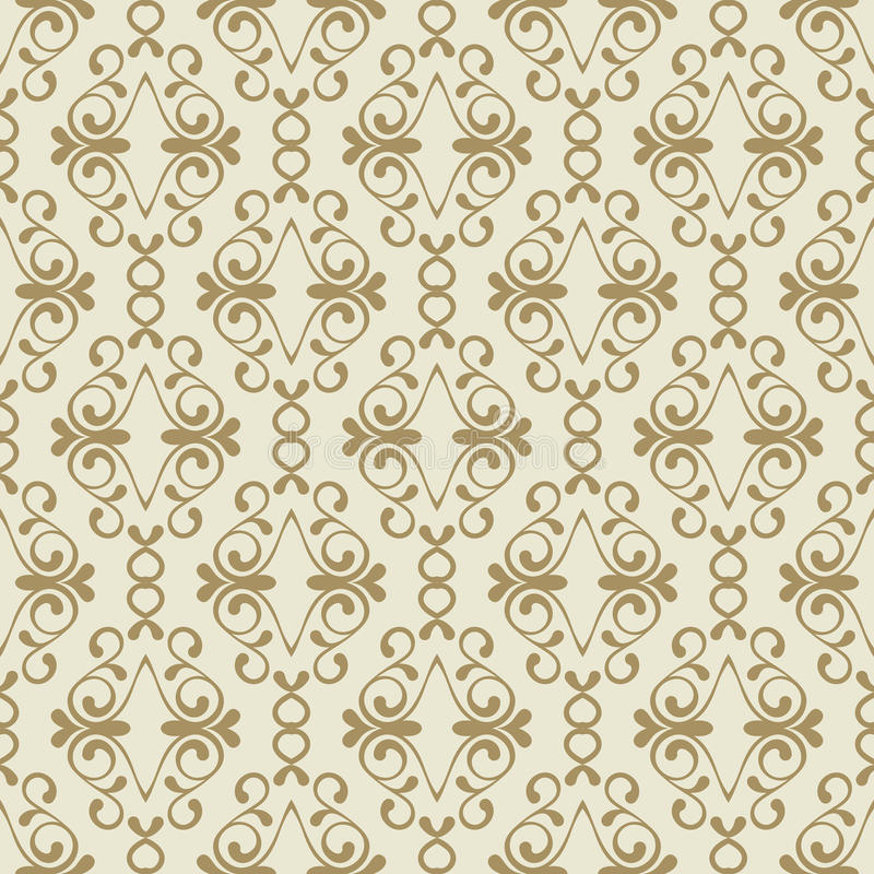 Vector seamless golden flourish pattern. Vintage decorative background. Floral design for fashion print, web backgrounds, greeting cards, holiday package vector illustration