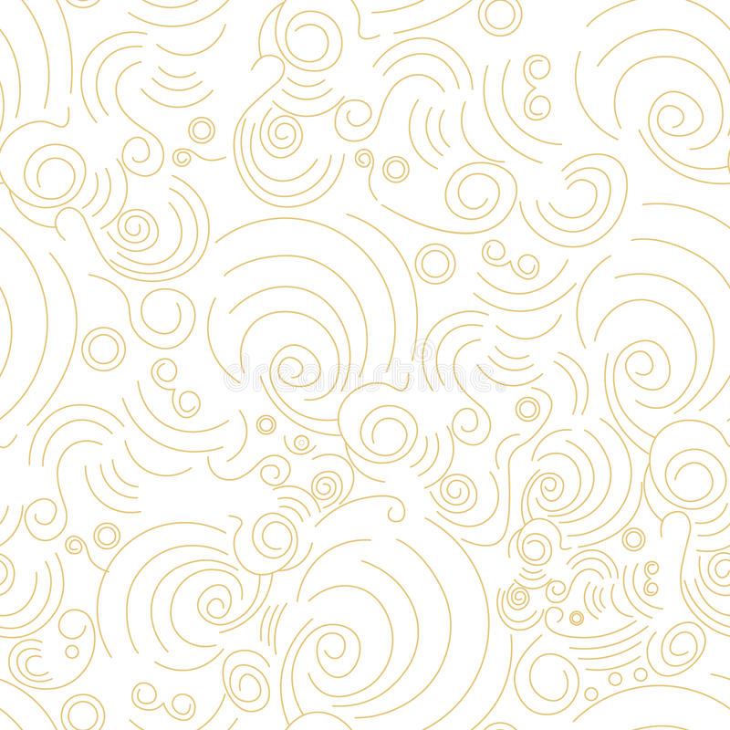 Vector seamless Golden linear shapes pattern stock illustration