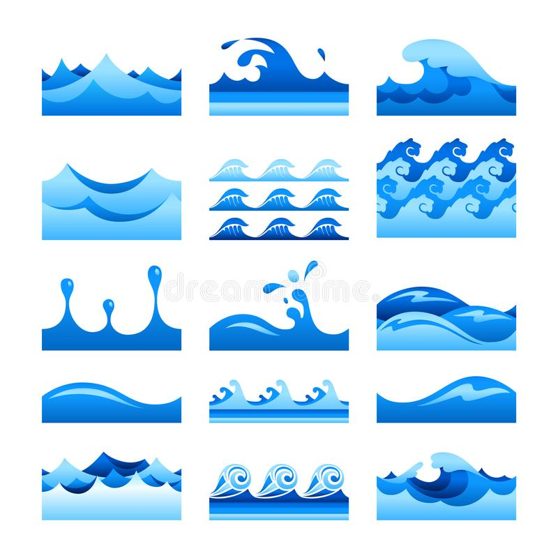 Vector seamless gradient blue water wave tiles set.  vector illustration