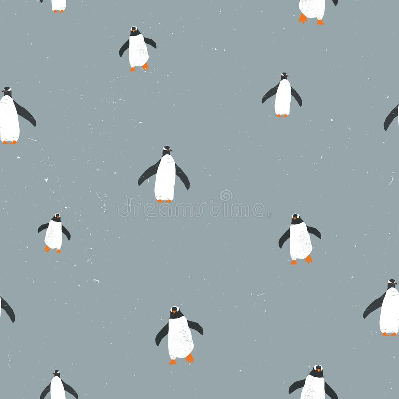 Vector seamless graphic pattern with penguins and grunge texture and snow on background. For placards, brochures stock illustration