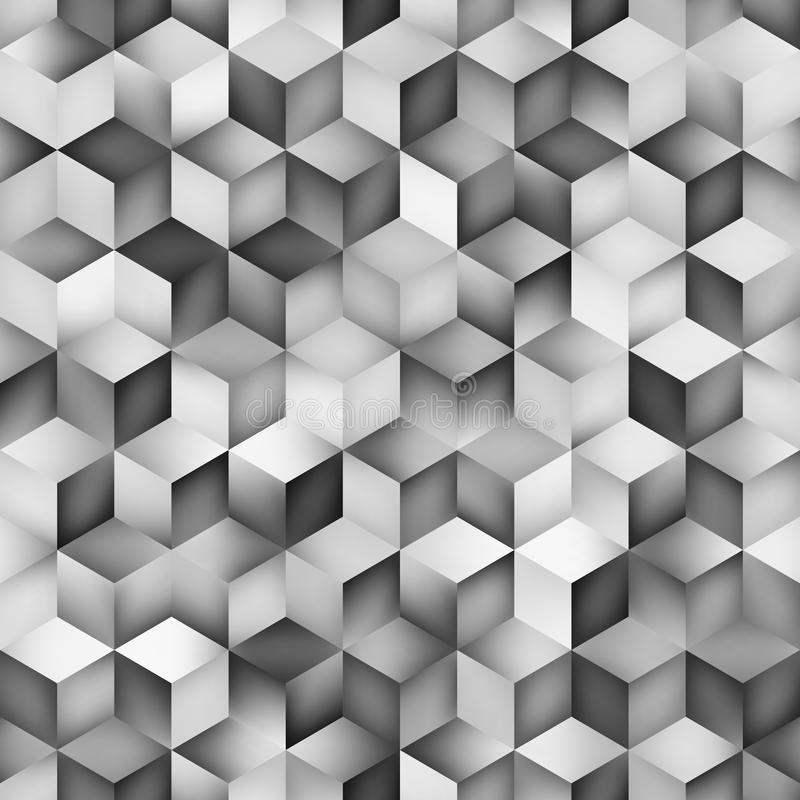 Vector Seamless Greyscale Gradient Cube Shape Rhombus Grid Geometric Pattern royalty free illustration