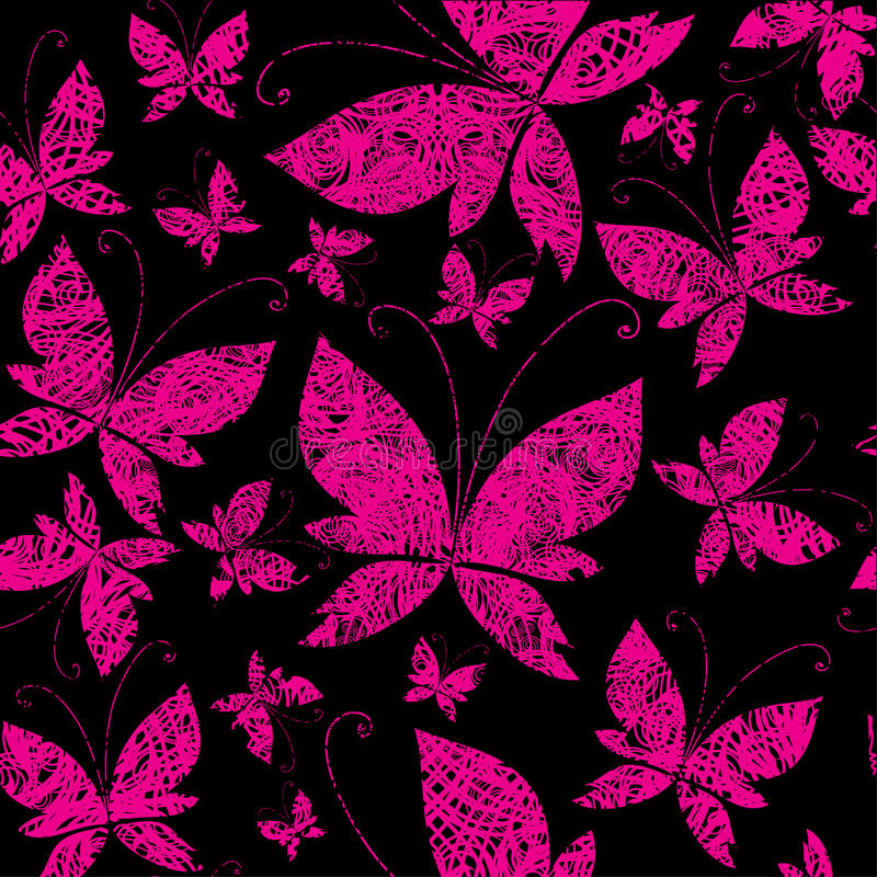 Vector seamless grunge pattern with butterfly royalty free illustration