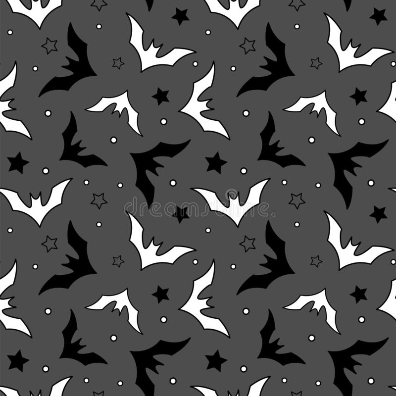 Vector Seamless Halloween Pattern With Black And White Bats On Gray Background Stock Vector Illustration Of Background Autumn 155281089