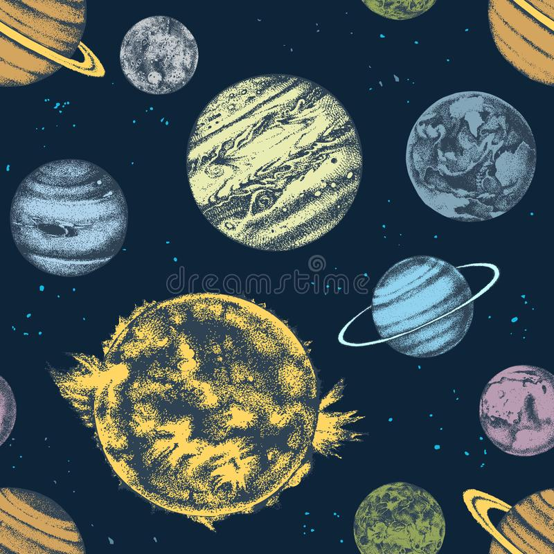 Vector seamless with solar system planets stock illustration