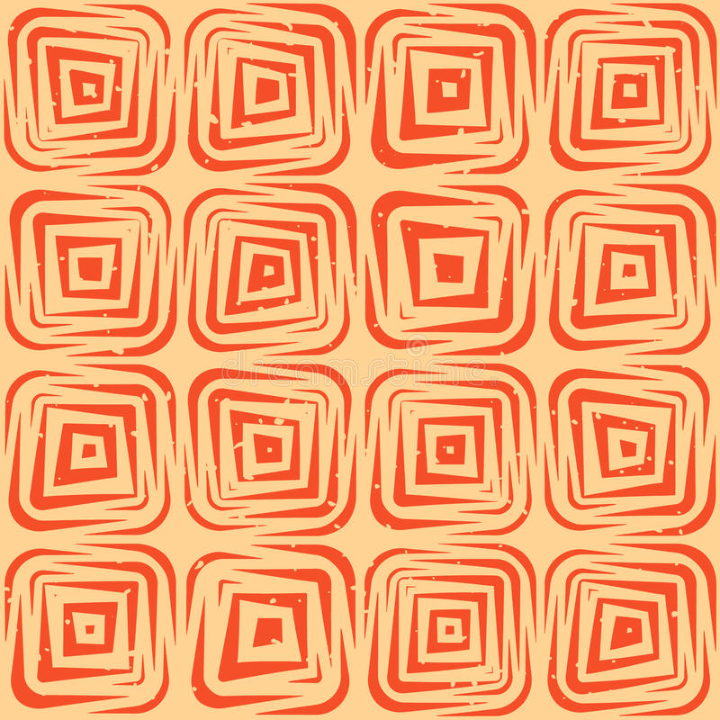 Vector Seamless Hand Drawn Geometric Lines Rounded Square Tiles Retro Grungy Orange Tan Pattern royalty free illustration