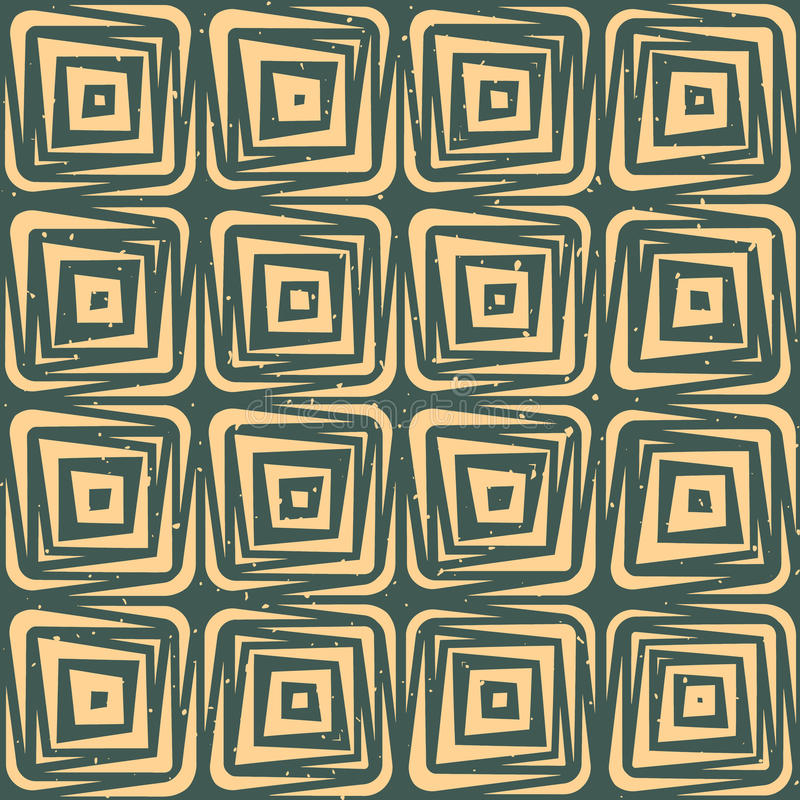 Vector Seamless Hand Drawn Geometric Lines Square Tiles Retro Grungy Green Tan Color Pattern royalty free illustration