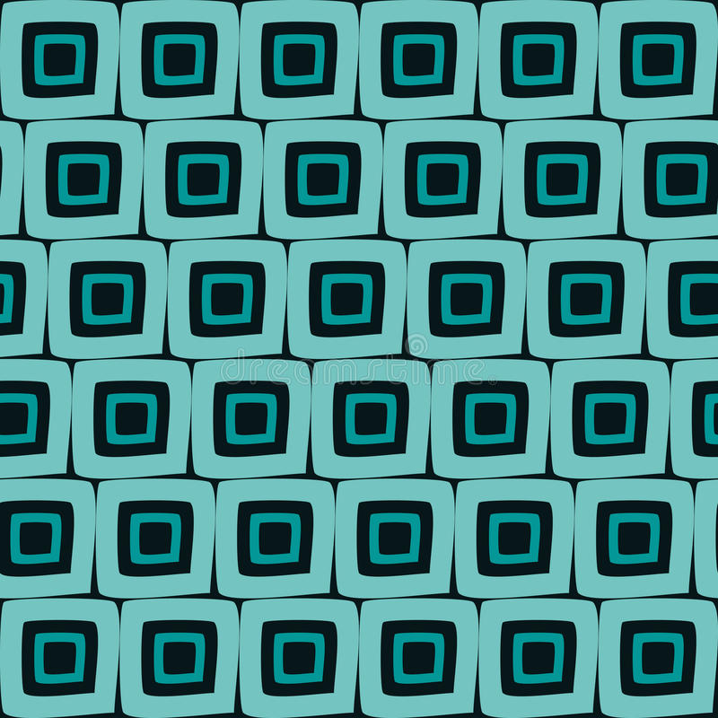 Vector Seamless Hand Drawn Geometric Square Tiles Retro Orange Pattern Abstract Background. stock illustration