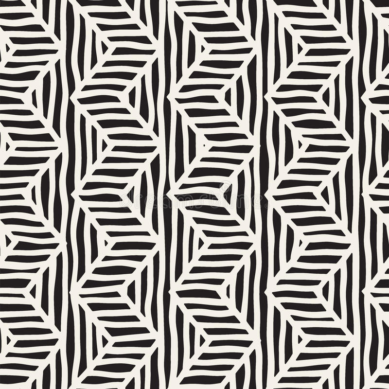 Vector seamless hand drawn pattern. Zigzag and stripe rough lines. Tribal design background. Ethnic doodle texture. royalty free illustration