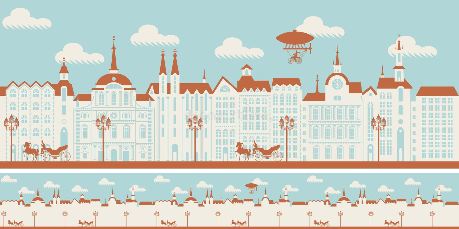 Seamless ornament with an old town in retro style. Vector seamless horizontal pattern with beautiful buildings of the Old town with horse-drawn carriages and vector illustration