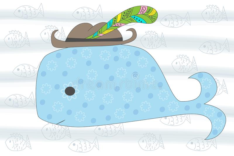 Vector seamless illustration of cartoon whale. Sea illustration. T-shirt graphics for kids. Vector illustration. stock illustration