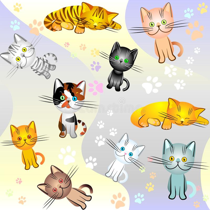 vector Seamless image on a cat theme royalty free stock photos