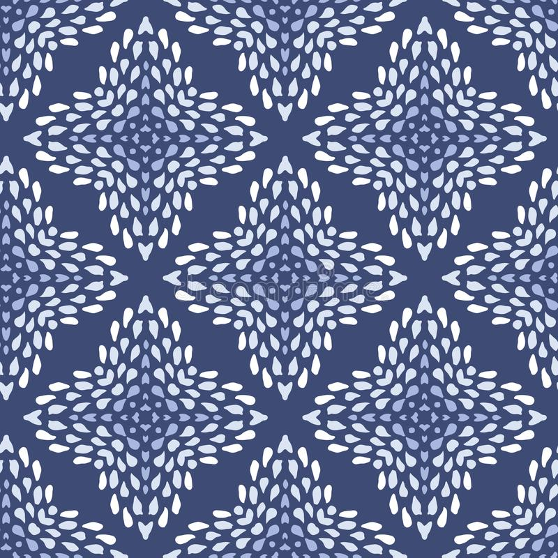 Vector seamless indigo batik pattern with irregular dots texture in geometric layout. Ethnic doodle background royalty free illustration