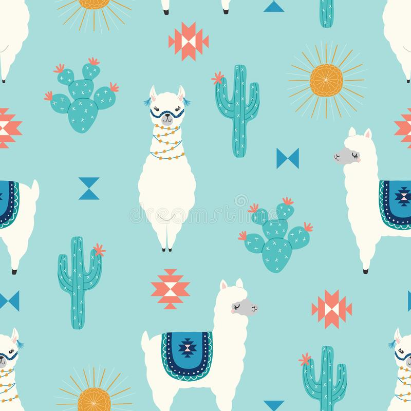 Vector seamless kids pattern of cute llamas with cactus, suns and geometric shapes on a blue background vector illustration