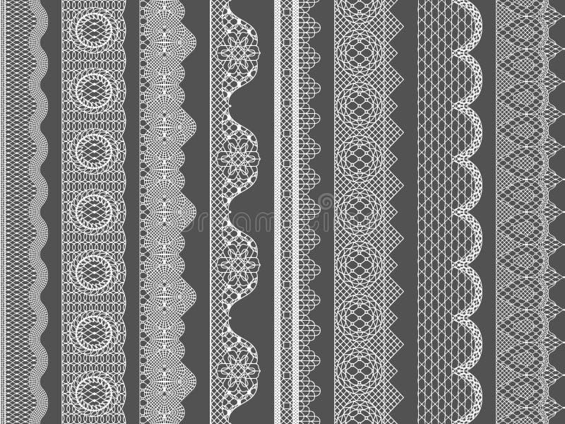 Vector seamless lace ribbon borders stock illustration