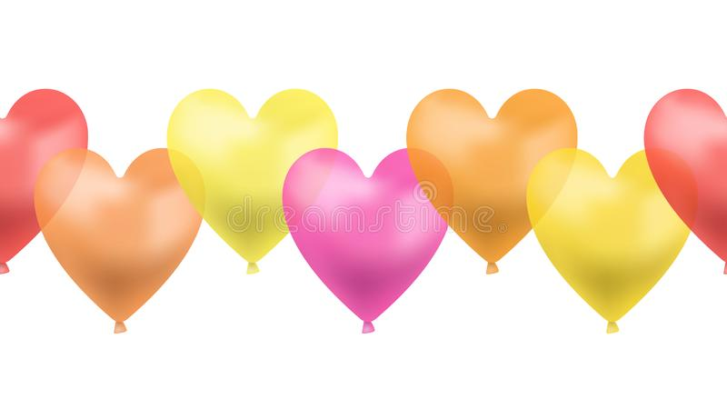 Vector Seamless Line of Heart Shaped Balloons, Red, Pink, Yellow, Orange Brigth Colors, Colorful Illustration, Love Symbol. vector illustration