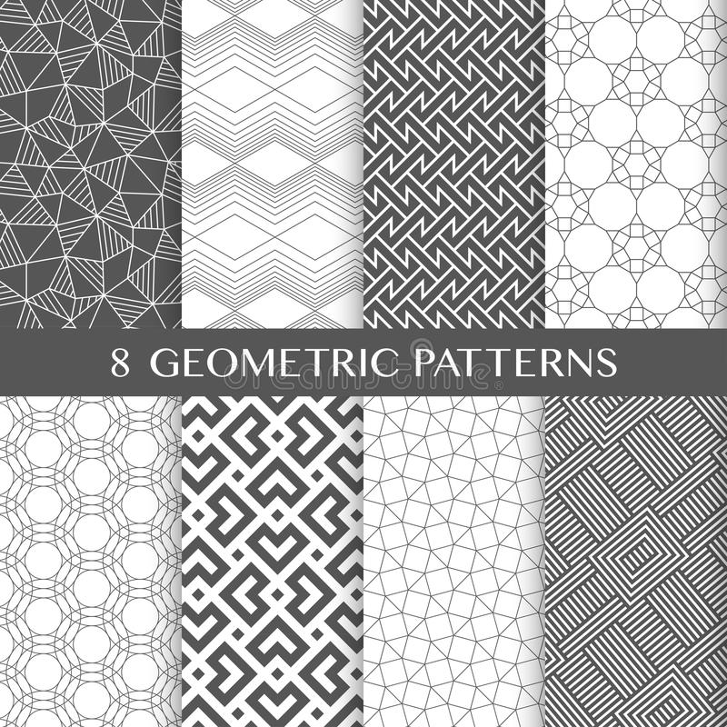 Vector seamless linear textures pack 1 stock illustration
