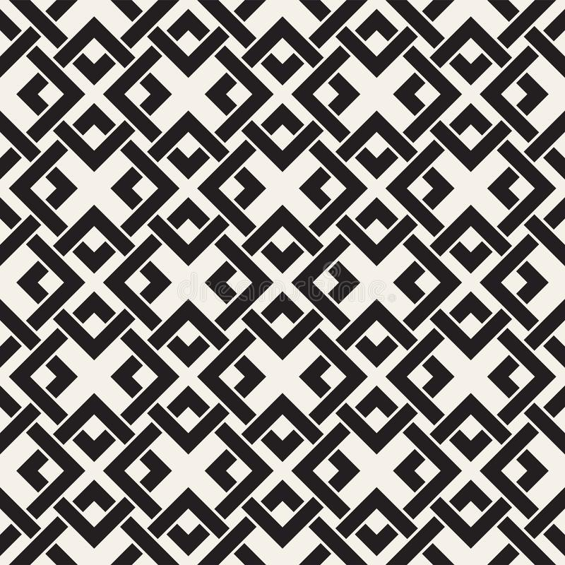 Vector seamless lines pattern. Abstract background with interweaving squares. Geometric monochrome lattice texture. Decorative gri royalty free illustration