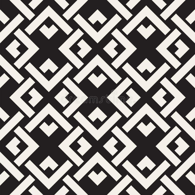 Vector seamless lines pattern. Abstract background with interweaving squares. Geometric monochrome lattice texture. Decorative gri stock illustration
