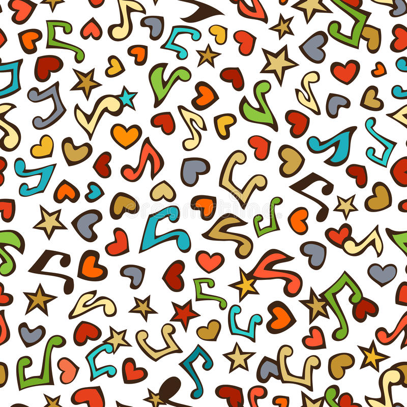 Vector seamless love music pattern. Cartoon various music notes, hearts and stars on white background. Colourful doodles boundless background vector illustration