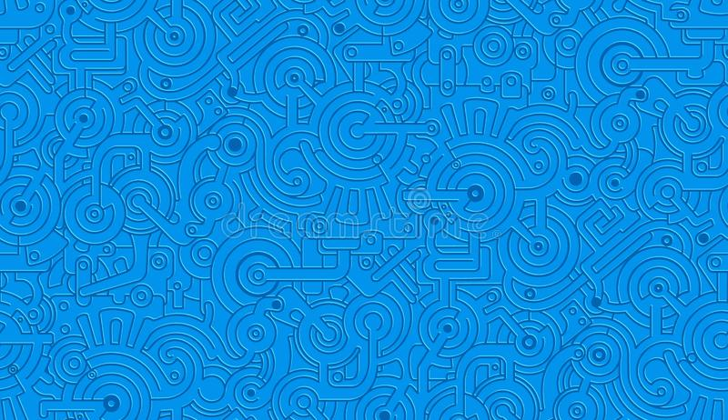 Vector Seamless Mechanical Pattern Texture. Isolated. Steampunk. Blue royalty free illustration