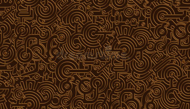 Seamless Vector Mechanical Pattern Texture. Isolated. Steampunk. Metallic. Bronze,Copper. Vector Seamless Mechanical Pattern Texture. Isolated. Steampunk royalty free illustration