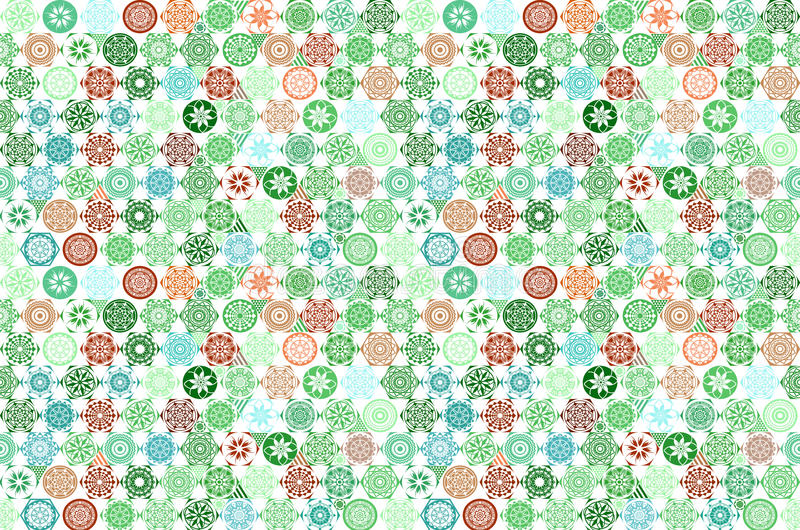 Vector seamless Mega Gorgeous seamless patchwork pattern from dark green and white Moroccan, Portuguese tiles, Azulejo, Arabic orn royalty free illustration