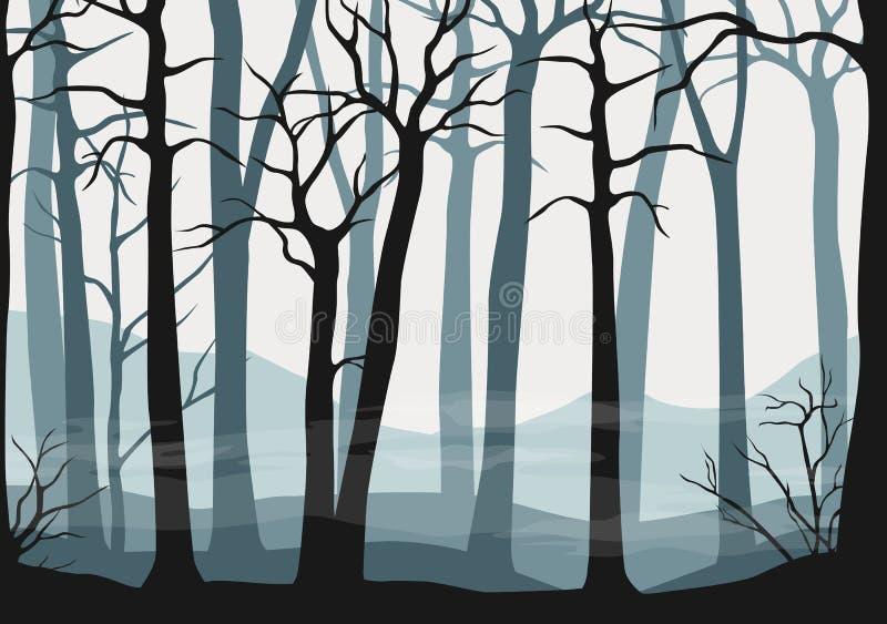 Vector seamless misty forest scene - wallpaper or background vector illustration