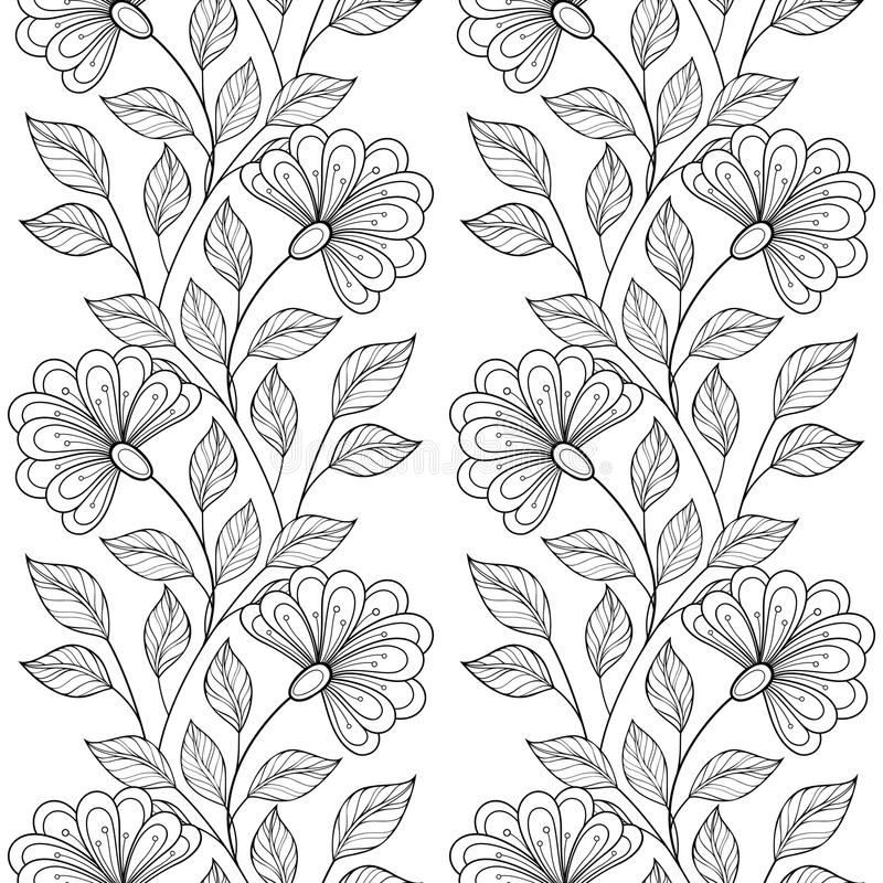 Free Vector Seamless Monochrome Floral Pattern Stock Photo - 55183640