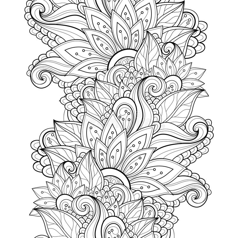 Free Vector Seamless Monochrome Floral Pattern Royalty Free Stock Image - 55183656
