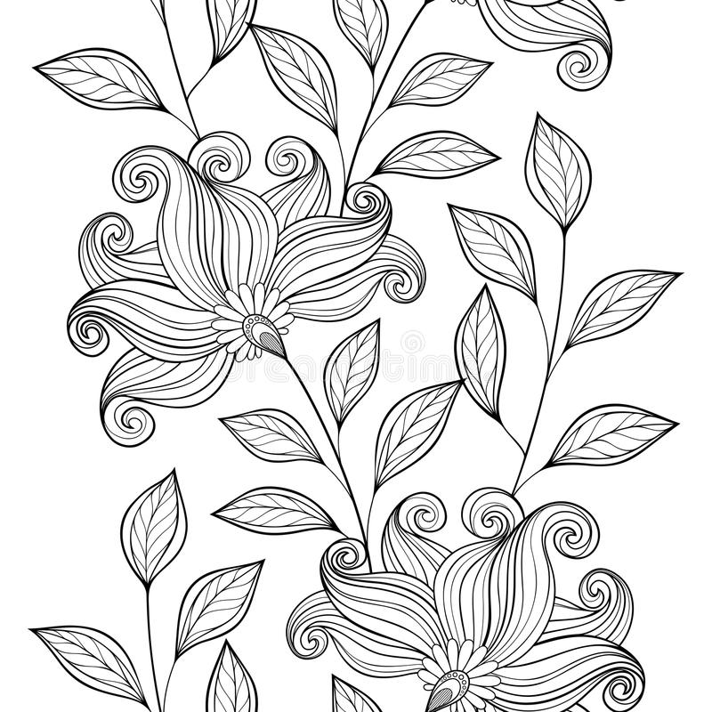 Free Vector Seamless Monochrome Floral Pattern Stock Photo - 57061220