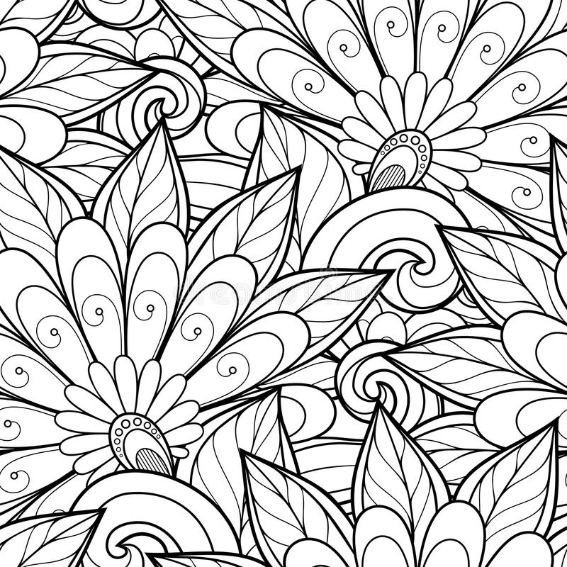 Free Vector Seamless Monochrome Floral Pattern Stock Photos - 57061543