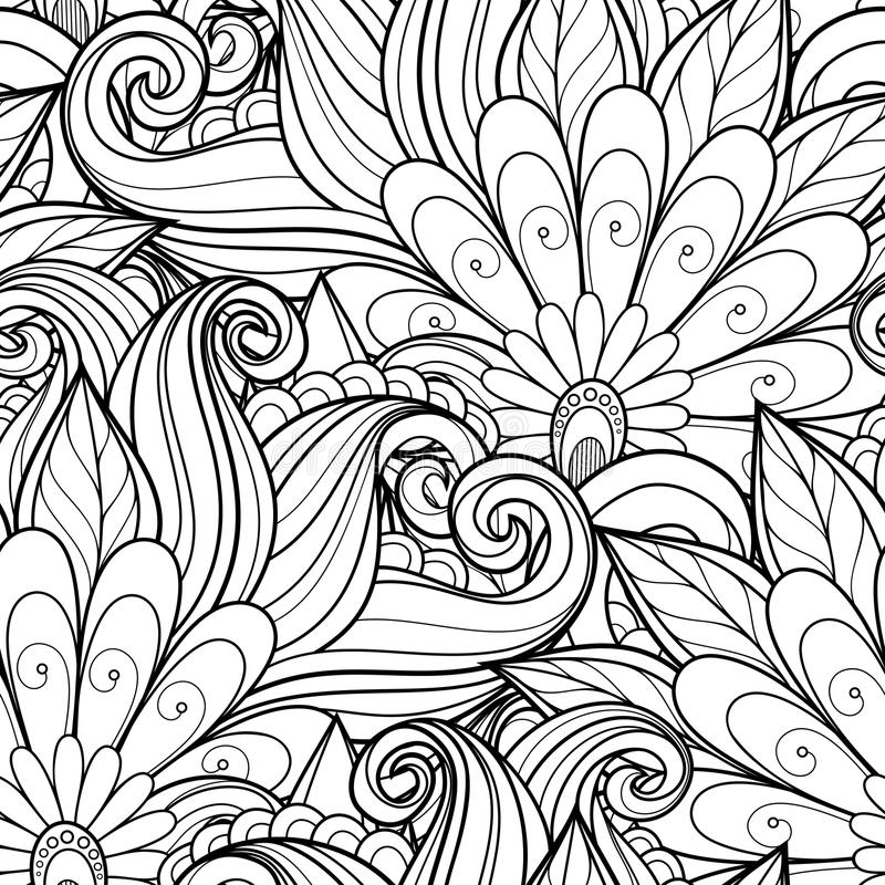Free Vector Seamless Monochrome Floral Pattern Royalty Free Stock Photo - 57061855