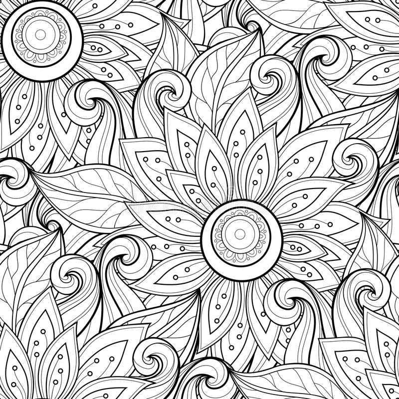 Free Vector Seamless Monochrome Floral Pattern Royalty Free Stock Image - 57359326