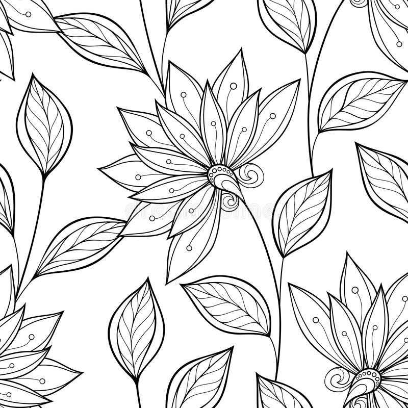 Free Vector Seamless Monochrome Floral Pattern Stock Images - 57359564