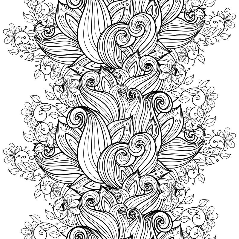 Free Vector Seamless Monochrome Floral Pattern Stock Photography - 57661882