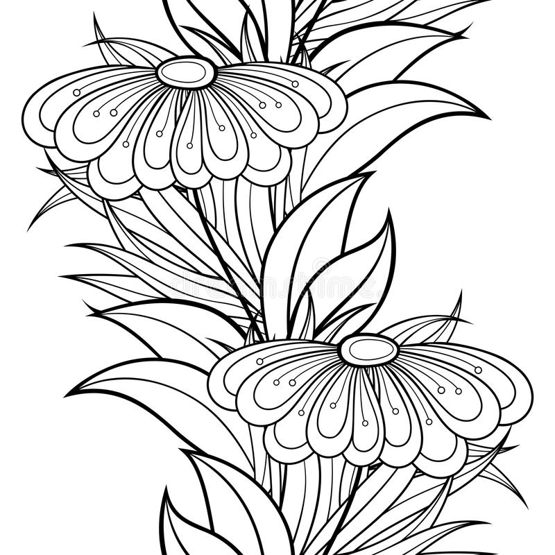Free Vector Seamless Monochrome Floral Pattern Royalty Free Stock Photos - 57661888