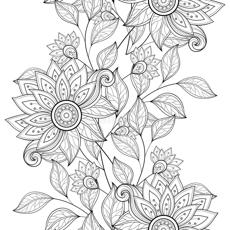 Free Vector Seamless Monochrome Floral Pattern Stock Photo - 59588270
