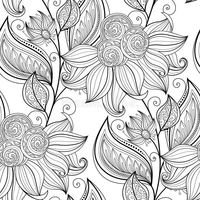 Free Vector Seamless Monochrome Floral Pattern Stock Photo - 60860940