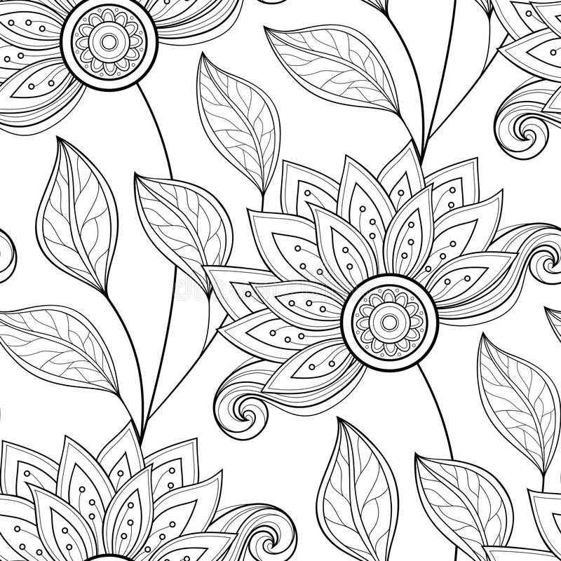Free Vector Seamless Monochrome Floral Pattern Royalty Free Stock Photo - 61122925