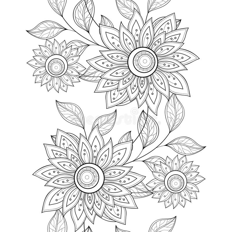 Free Vector Seamless Monochrome Floral Pattern Royalty Free Stock Images - 61122959
