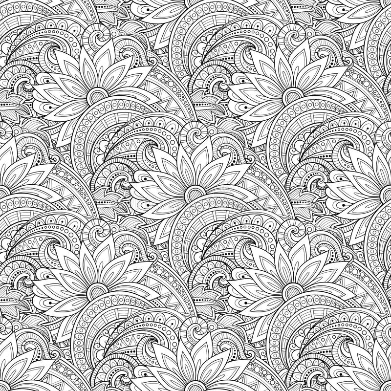 Free Vector Seamless Monochrome Floral Pattern Royalty Free Stock Photo - 61123195