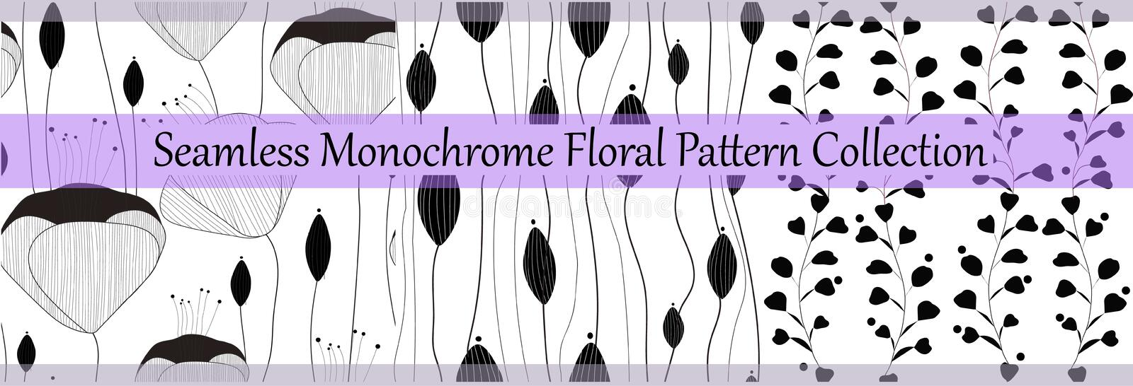 Vector seamless monochrome floral pattern collection. Elegant hand drawn textures for prints,paper, wrapping, textile. royalty free illustration
