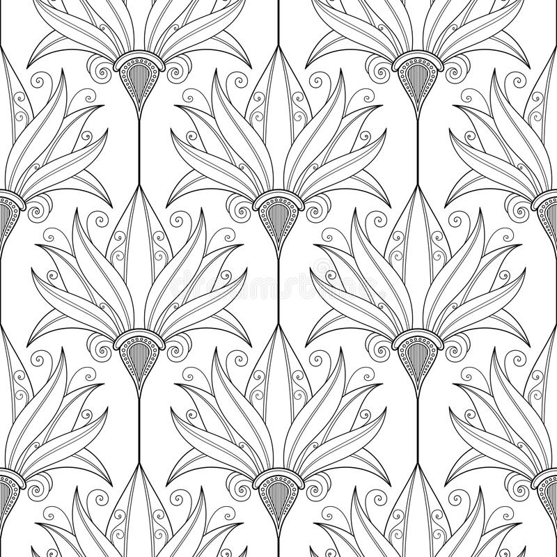 Vector Seamless Monochrome Floral Pattern vector illustration