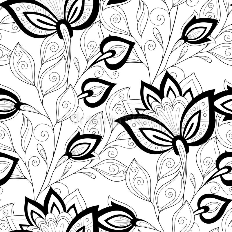 Vector Seamless Monochrome Floral Pattern stock illustration