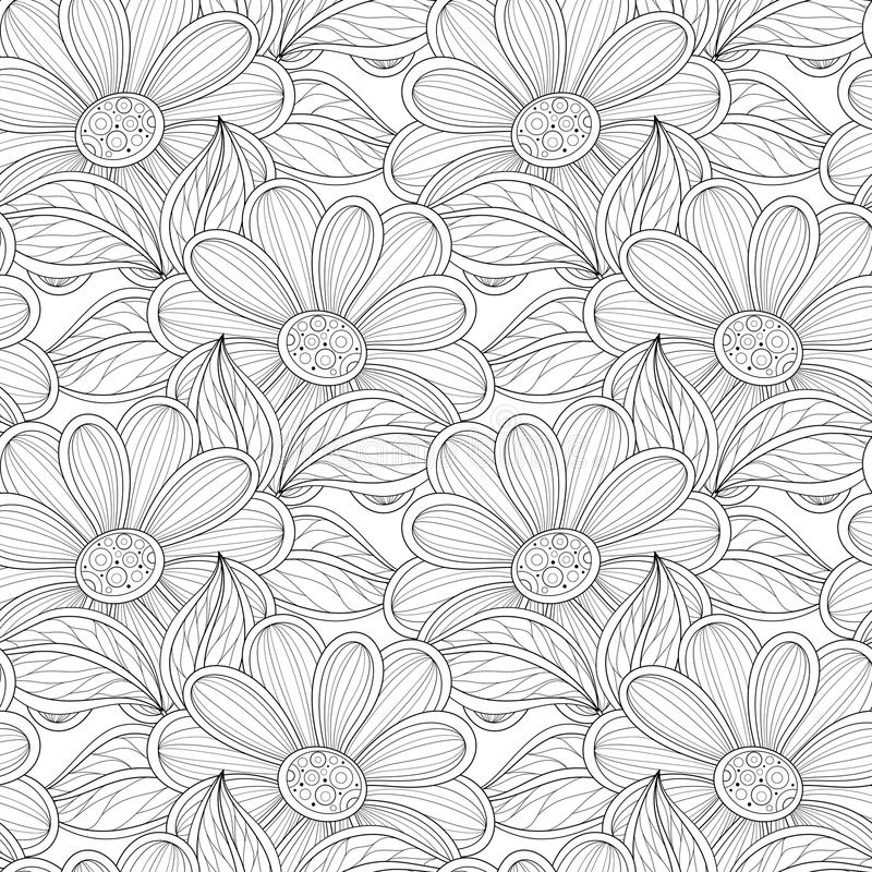 Download Vector Seamless Monochrome Floral Pattern Stock