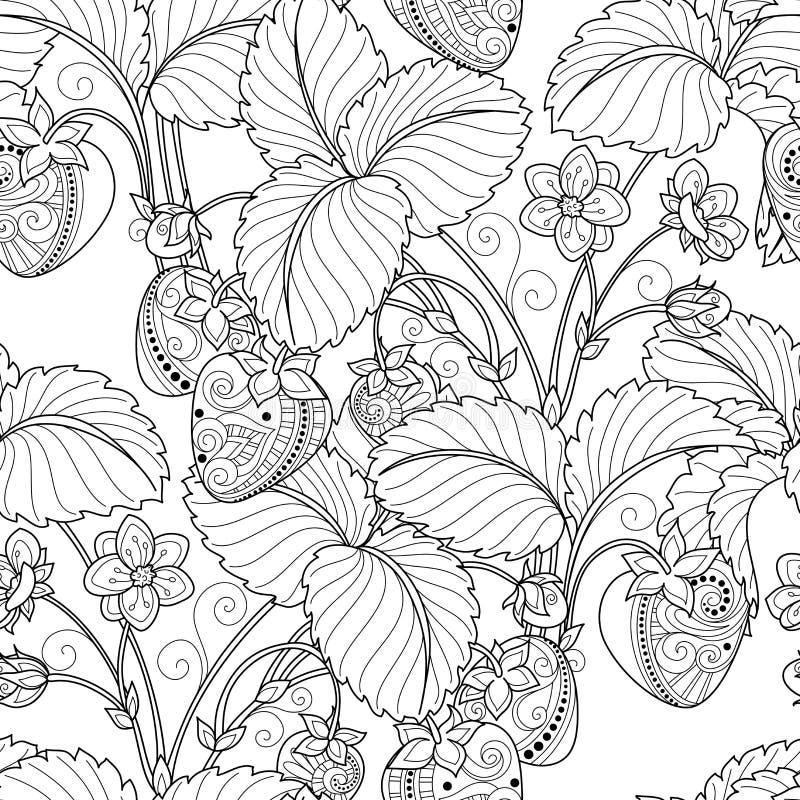 Vector Seamless Monochrome Fruit Pattern. Hand Drawn Decorative Strawberry royalty free illustration